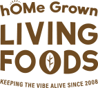 Logo for hOMe Grown Living Foods