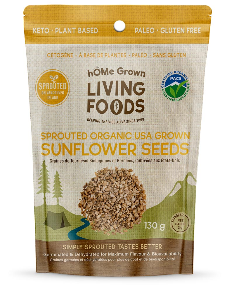 Home Grown Living Foods Sprouted Organic Sunflower Seeds