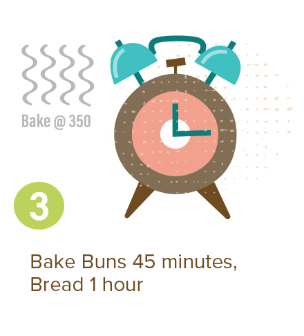 Bake Buns 45 minutes. Bread 1 hour