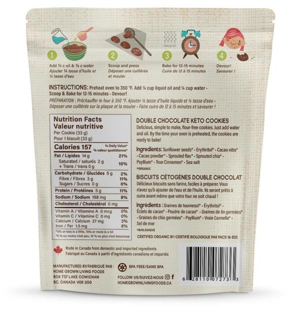 Keto U-bake Organic Double Chocolate Cookie Ingredients