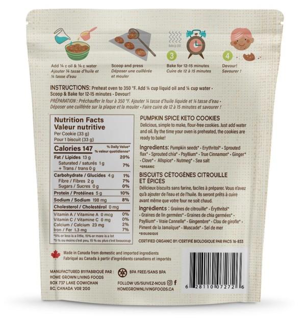 Keto U-bake Organic Pumpkin Spice Cookie Ingredients
