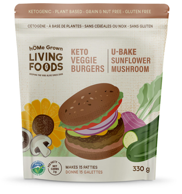 Keto U-bake Sunflower Mushroom Veggie Burgers
