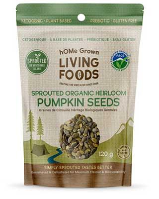 hOMe Grown Living Foods Sprouted Heirloom Pumpkin Seeds package