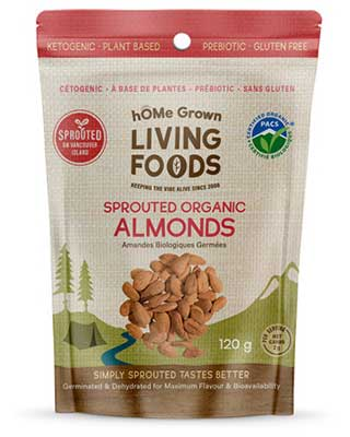 hOMe Grown Organic Sprouted Almonds package