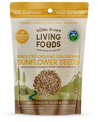 hOMe Grown Living Foods Sprouted Organic Sunflower Seeds package