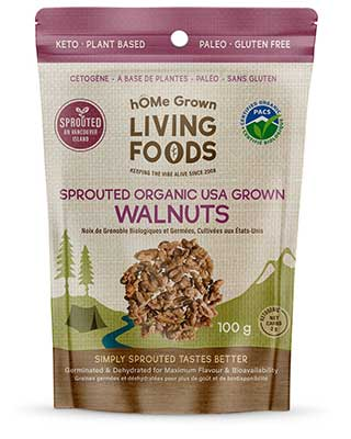 hOMe Grown Organic Sprouted Walnuts package
