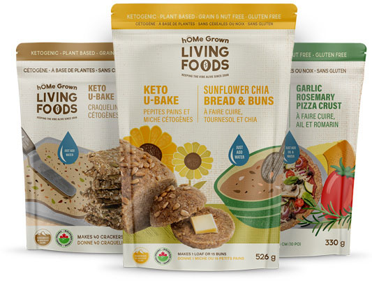 Assortment of hOMe Grown Living Foods Keto U-Bake products